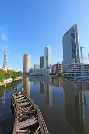 Partial Tampa, Florida skyline with Riverwalk Park and commercial buildings vertical Editorial