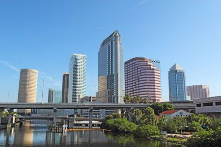 Partial Tampa, Florida skyline with USF Park and commercial buildings Imagens - 88582026