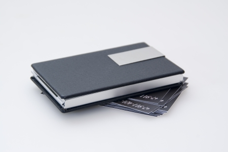 Black card holder and business cards Stock Photo