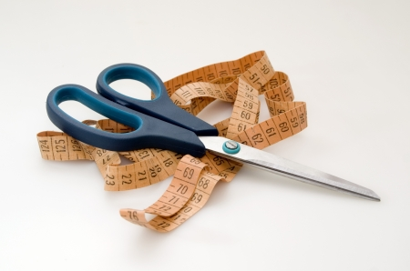 Scissors and measuring tape  Stock Photo