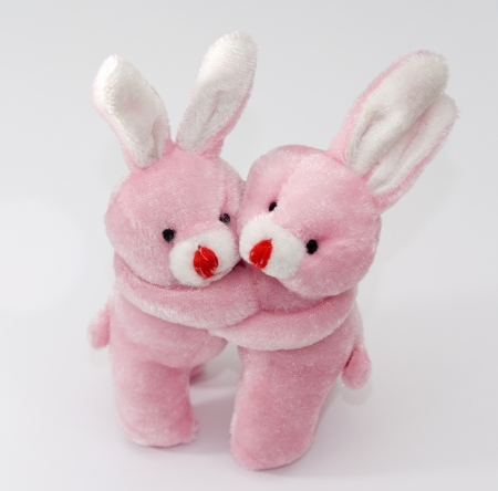 Two pink bunnies hug Stock Photo