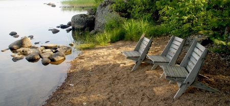 Place for summer rest on a lake                  Stock Photo