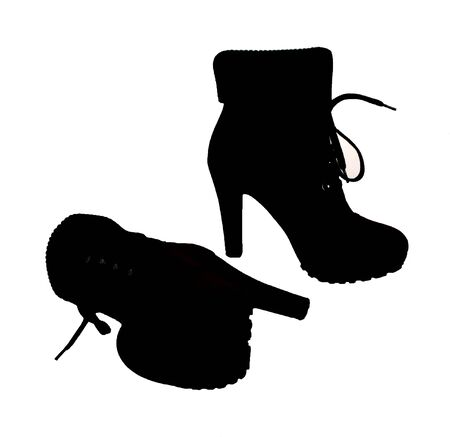 high heeled: The silhouette of high heeled boots