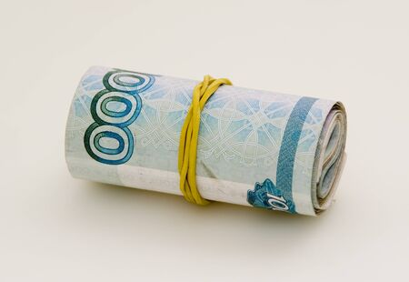 Roll of money fixed with rubber band