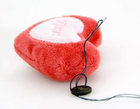 Plushy heart for needles Stock Photo