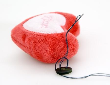 Plushy heart for needles Stock Photo