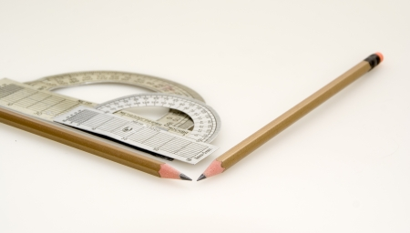 Protractor and two pencils