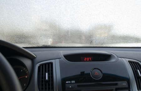 Rime on frosen windscreen of car Stock Photo