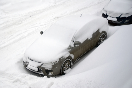 Car in snowy weather Stock Photo