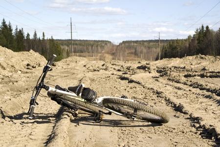 Mountain bike on the russian road