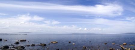 Foto panor�mica del lago Onego Foto de archivo