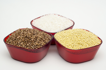 White rice, buckwheat and barley Stock Photo