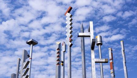 absract art: Iron poles art composition  Stock Photo
