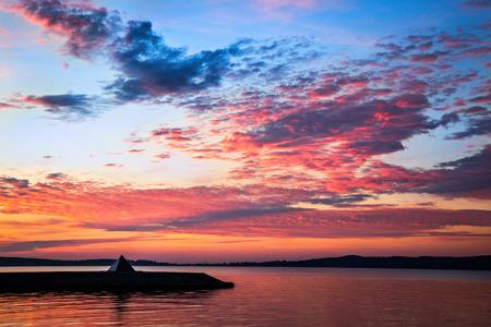 embankment: Sunset city lake embankment