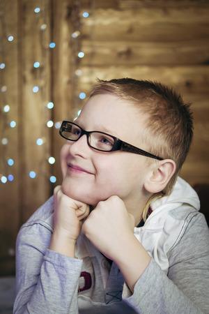 Teen boy in black glasses Stockfoto