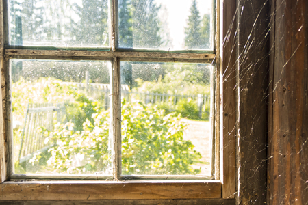 Old window with spiderweb