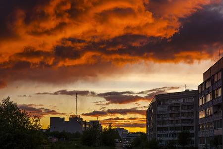 Gloomy sky over city