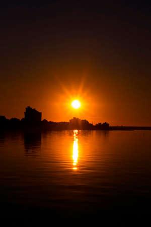 coastal city: Coastal city on sunset Stock Photo