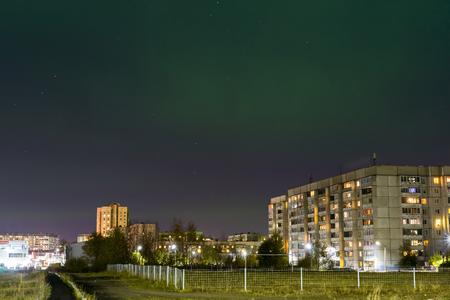 polar lights: Polar lights above the city