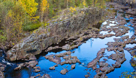 volcanic rock: Riverbed in canyon of volcanic rock in forest