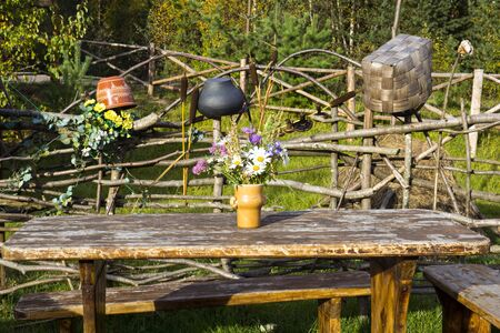 clime: Rural table in village yard