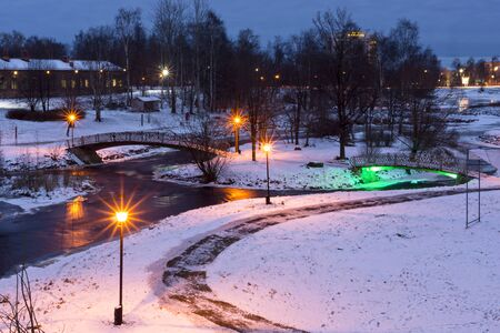 winter evening: Winter evening in city park
