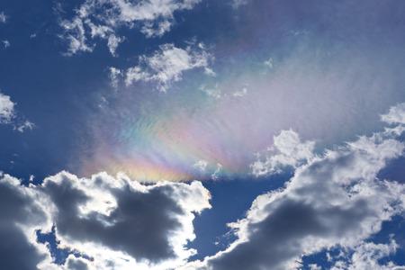 Colourful rainbow-like cloud