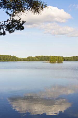 Idyllic vertical lakescape Stock Photo