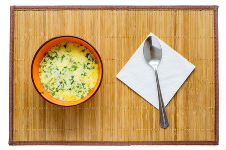 broth: Hot cheese soup with chicken broth