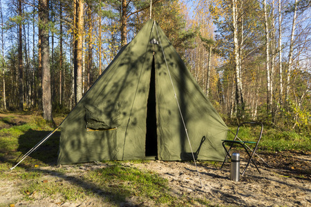 Oldschool tent in forest camp