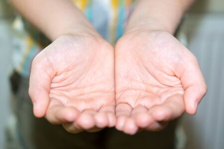 Human opened palms