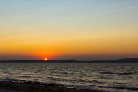Sunset at Black sea coast Stock Photo