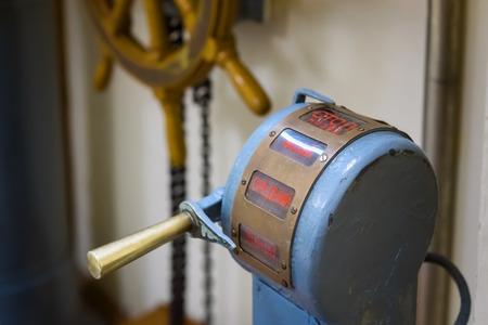 Vintage telegraph machine in ships deckhouse Фото со стока