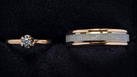 Gold wedding rings top view Stock Photo