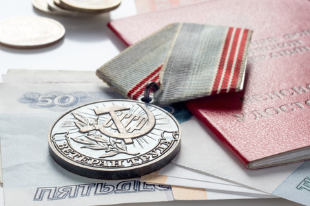 Veterans medal of labor, pension certificate and money