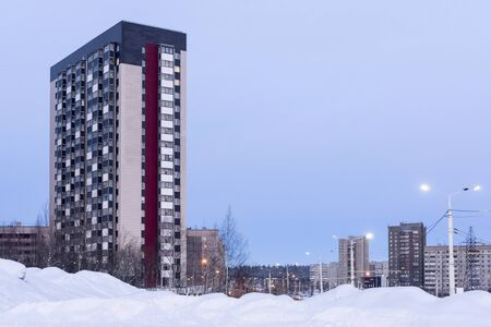 High-rise city houses in winter
