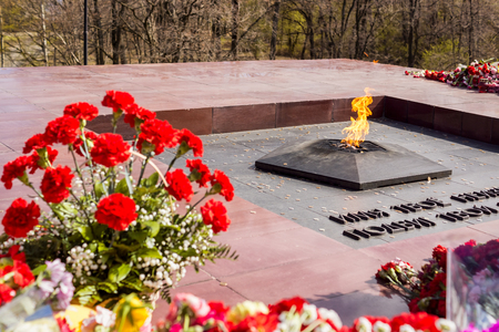 Flowers at Eternal Flame on May 9 on Victory Day