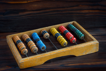 Old abacus with multi-colored knuckles