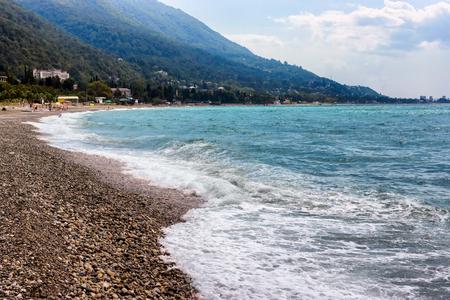 Pebbled beach of Black Sea in Gagra