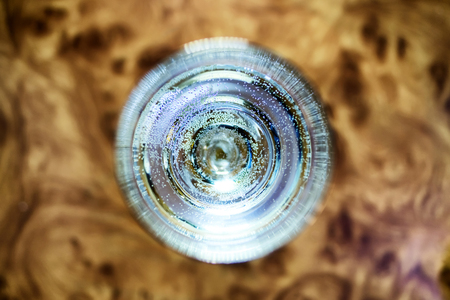 Glass of champagne top view