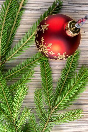 Fir tree background and Christmas ball