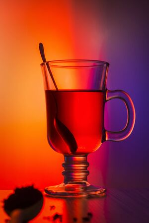 Colorful still life tea in a glass