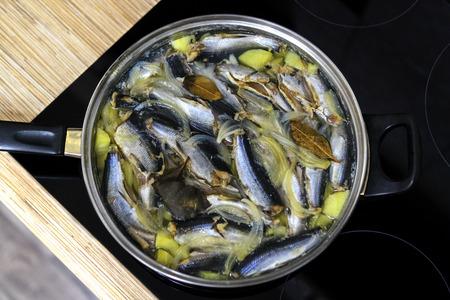 Local northern dish, Karelian fish with potatoes