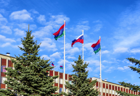 State flag of Russia is flying in blue sky