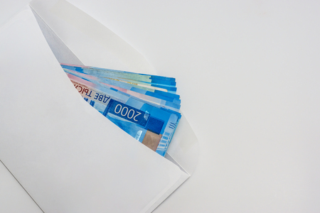 Ruble cash in white clear envelope