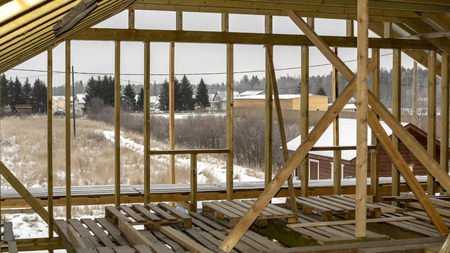 Rafters of wooden house