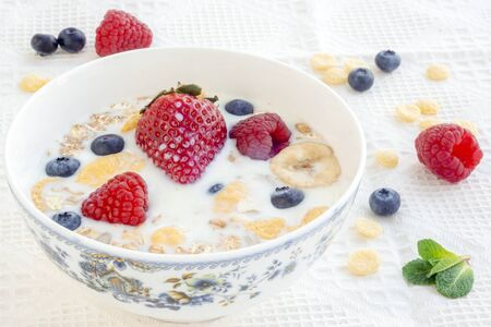 Milk with muesli and berries for breakfast