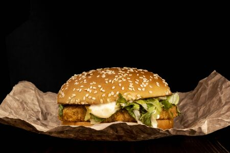Chicken burger with sesame seeds, chicken and sauce Stock Photo