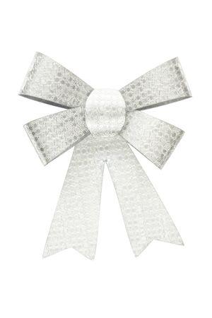 Wonderful gift shiny silver bow isolated Фото со стока