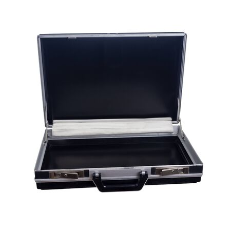 Opened hard black attache case for business, documents and cash, isolated